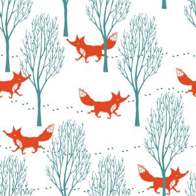Fototapete Rotfüchse in einem Winterwald Hintergrund