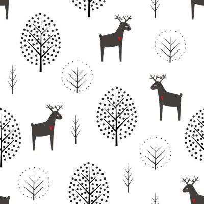 Fototapete Rotwild und nahtloses Muster der Bäume auf weißem Hintergrund. Dekorative Waldvektorillustration. Netter Naturhintergrund der wilden Tiere. Skandinavisches Design für Textilien, Tapeten, Stoff, Dekor.