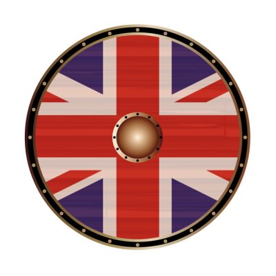 Round Shield With the Union Jack flag of The United Kingdom