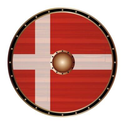 Round Viking Shield With Dane Flag