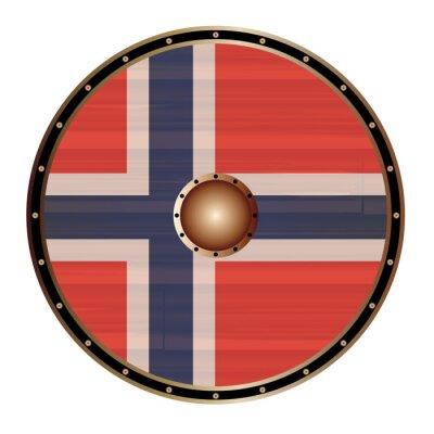 Round Viking Shield With Norwegian Flag