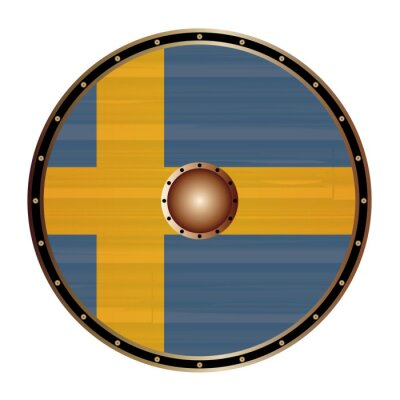 Round Viking Shield With Sweden Flag