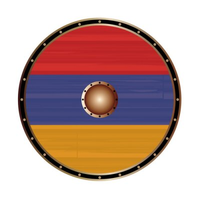 Round Viking Style Shield With Armenian Flag