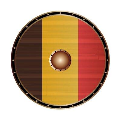Round Viking Style Shield With Belgium Flag