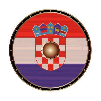 Round Viking Style Shield With Croatia Flag