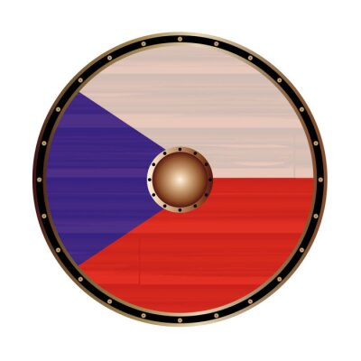 Round Viking Style Shield With Czech Republic Flag