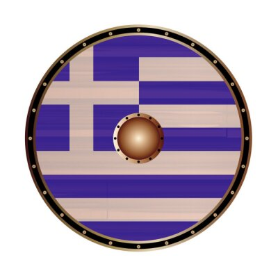 Round Viking Style Shield With Greek Flag