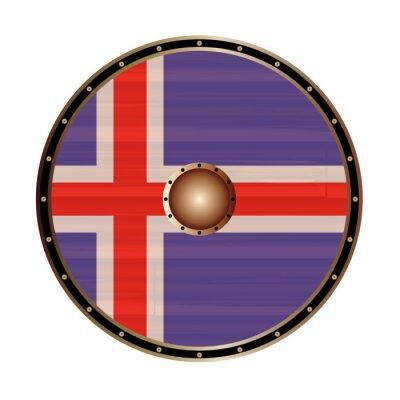 Round Viking Style Shield With Icelandic Flag