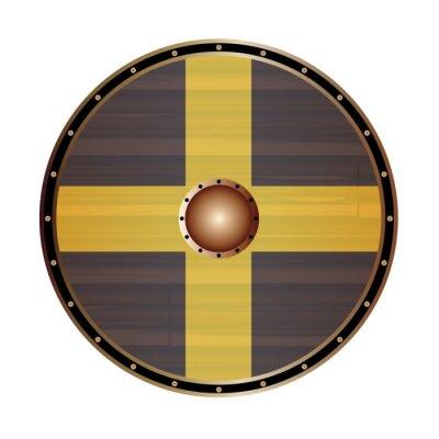 Round Viking Style Shield With Saint Davids Flag Flag