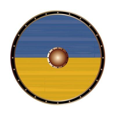 Round Viking Style Shield With Ukraine Flag