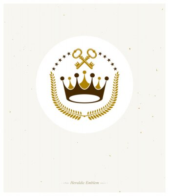 Fototapete Royal Crown emblem. Heraldic Coat of Arms decorative logo isolated vector illustration. Ancient logotype in old style on white background.
