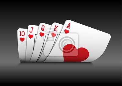 Royal Flush Poker-Karten auf schwarzem