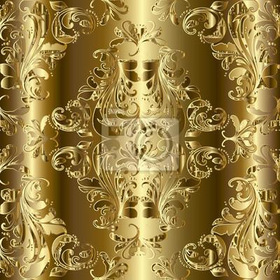 Royal Luxus Gold Barock Nahtlose Muster Chic Golden 3d Hintergrund