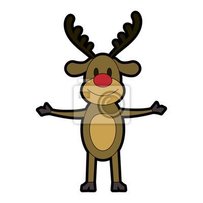 Bilder Rentiere Weihnachten.Fototapete Rudolph Die Rote Nase Rentier Weihnachten Zeichen Symbol Bild