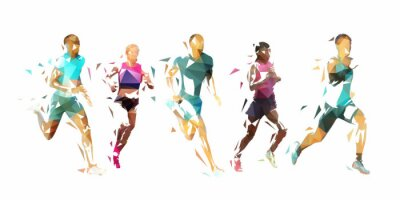 Fototapete Run, group of running people, low poly vector illustration. Geometric runners