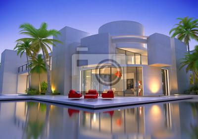 Runde moderne villa mit pool fototapete u fototapeten luxus haus