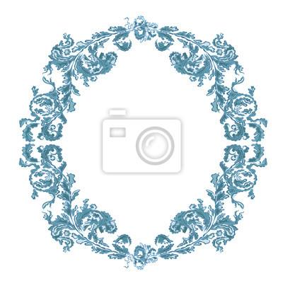 Runde Rahmen ornamentalen Blumen-blaue Farbe