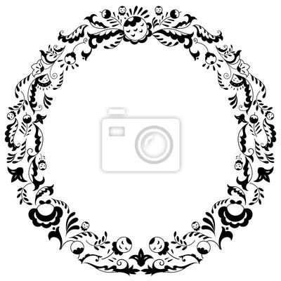 Runde schwarz-weiße randrahmen mit doodle blumen. kann für ...