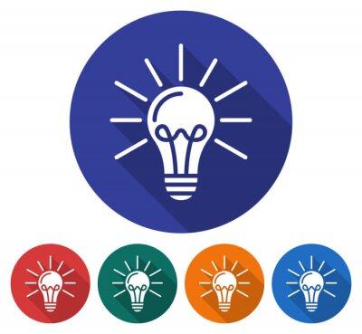 Runde symbol der lampe strahlendes licht. flache stil illustration ...