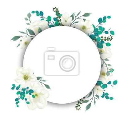 Runde vorlage mit blumen und blättern fototapete • fototapeten ...