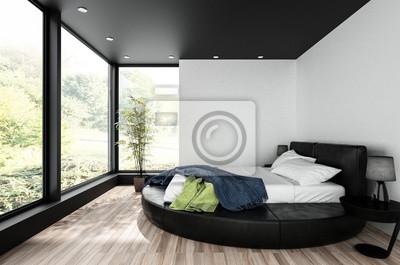 Fototapete Rundes Doppelbett Im Minimalistischen Schlafzimmer