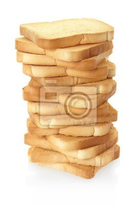 Rusk Brot Stapel auf weiß, Clipping-Pfad enthalten
