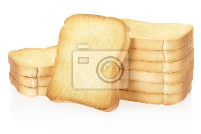 Rusk Brot Toasts auf weiß, Clipping-Pfad enthalten