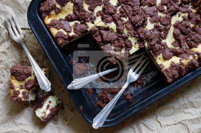 Russischer Zupfkuchen Schoko Quark Kuchen Vom Blech Fototapete