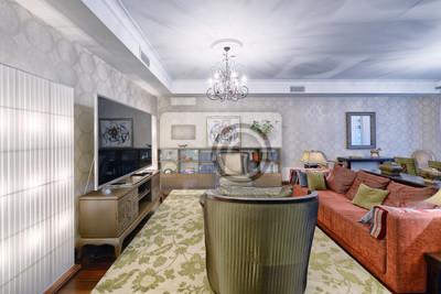 Fototapete Russland, Region Moskau   Wohnzimmer Innenarchitektur In Neuen  Luxus Landhaus