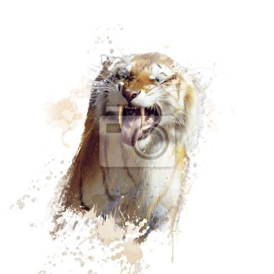 Sabertooth Tiger Porträt Aquarell