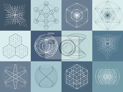 Sacred Geometrie Symbole und Elemente gesetzt