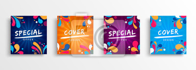 Fototapete Sale and design background set with colorful art