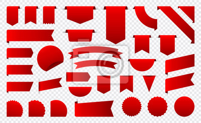 Fototapete Sale and New Label collection set. Sale tags 30, 50, 70. Discount red ribbons, banners and icons. Shopping Tags. Sale icons. Red isolated on white background, vector illustration.