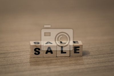 Sale in wooden cubes