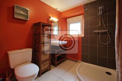 Salle de bain avec douche und mur coloré en rouge orange fototapete ...