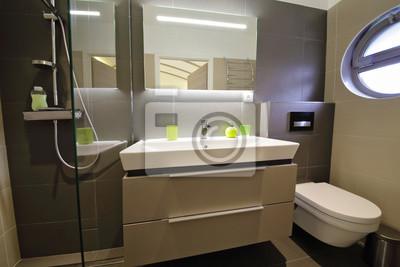 Salle de bain douche italienne fototapete • fototapeten rockface ...