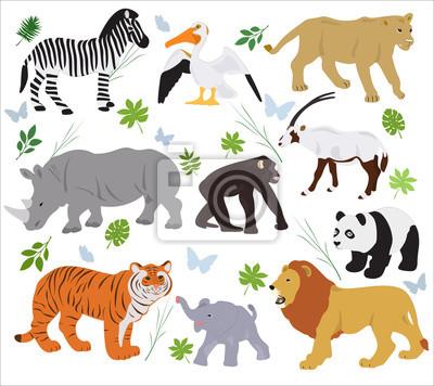 Fototapete Sammlung Afrikanische Tiere Auf Einem Weißen Hintergrund