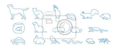 Fototapete Sammlung Haustierikonen gezeichnet mit blauer Tiefenlinie auf weißem Hintergrund. Satz lineare Symbole des Haustieres. Vektor-Illustration.