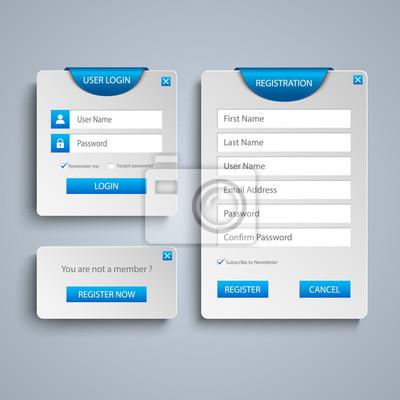 Sammlung login und register web-bildschirm mit blauen lesezeichen ...