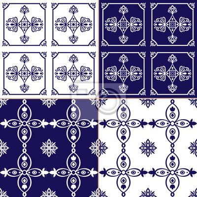 Fototapete Sammlung Ornamentalen Muster Vektor Blau Und Weiß Farbe. Azulejo  Portugiesische Fliesen, Spanisch,