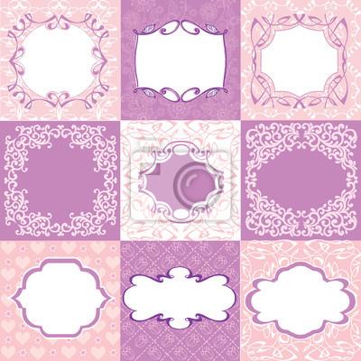 Sammlung Rosa Rahmen Karten Muster Kann Fur Geburtstag Muttertag