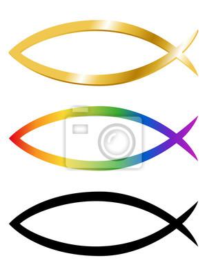 Sammlung verschieden farbiger christlicher fisch-symbole fototapete ...