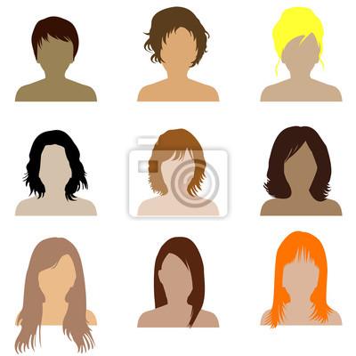 Fototapete Sammlung Von Frauen Mit Verschiedenen Arten Von Frisur