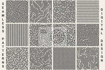 Fototapete Sammlung von gestreiften nahtlosen geometrischen Mustern.
