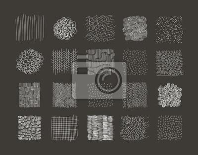 Sammlung von Hand gezeichnet Texturen. Vektor. Isoliert.