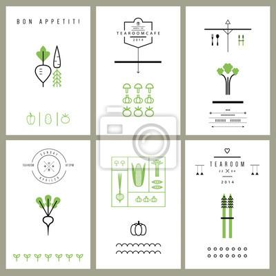 Sammlung von Karten mit Gemüse. Ikonen. Vektor. Isoliert