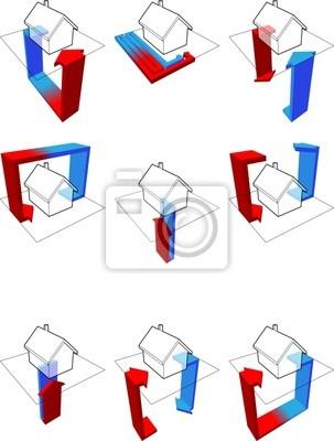 Sammlung von neun wärmepumpe diagramme fototapete • fototapeten ...