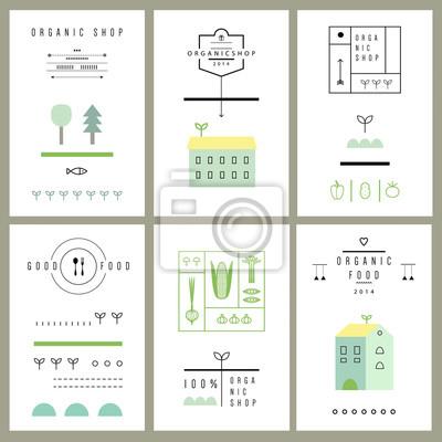 Sammlung von Öko-Karten. Ikonen. Vektor. Isoliert