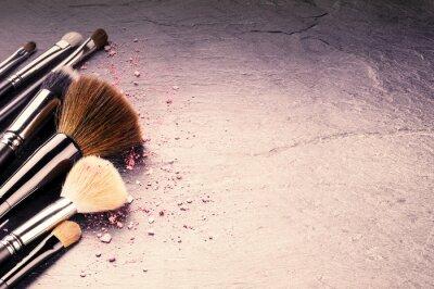 Fototapete Sammlung von professionellen Make-up Pinsel