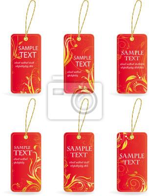 Sammlung von roten Etiketten Preis